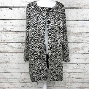 Sz 18 Long Jackie O 60s Vibe Animal Print Coat